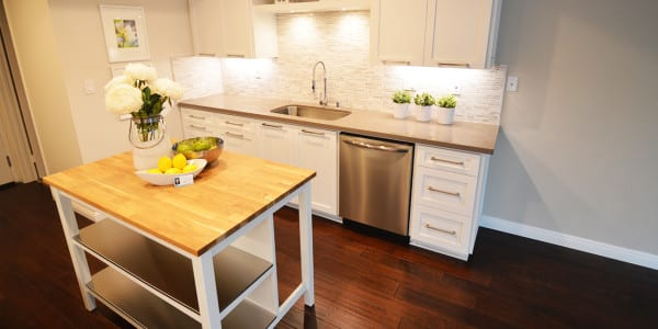 Glendora Contemporary Kitchen Remodel Butcher Block Island - 1