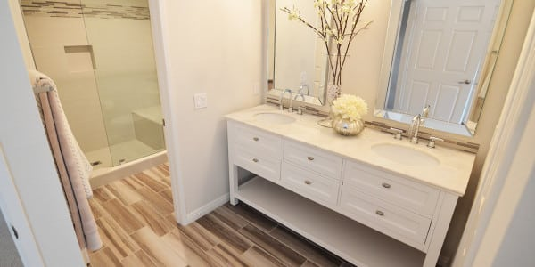 Glendora Contemporary Master Bathroom White Vanity Cabinet - 1